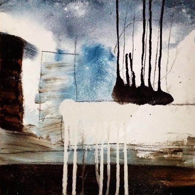 Collage mit Acryl und Kreide
