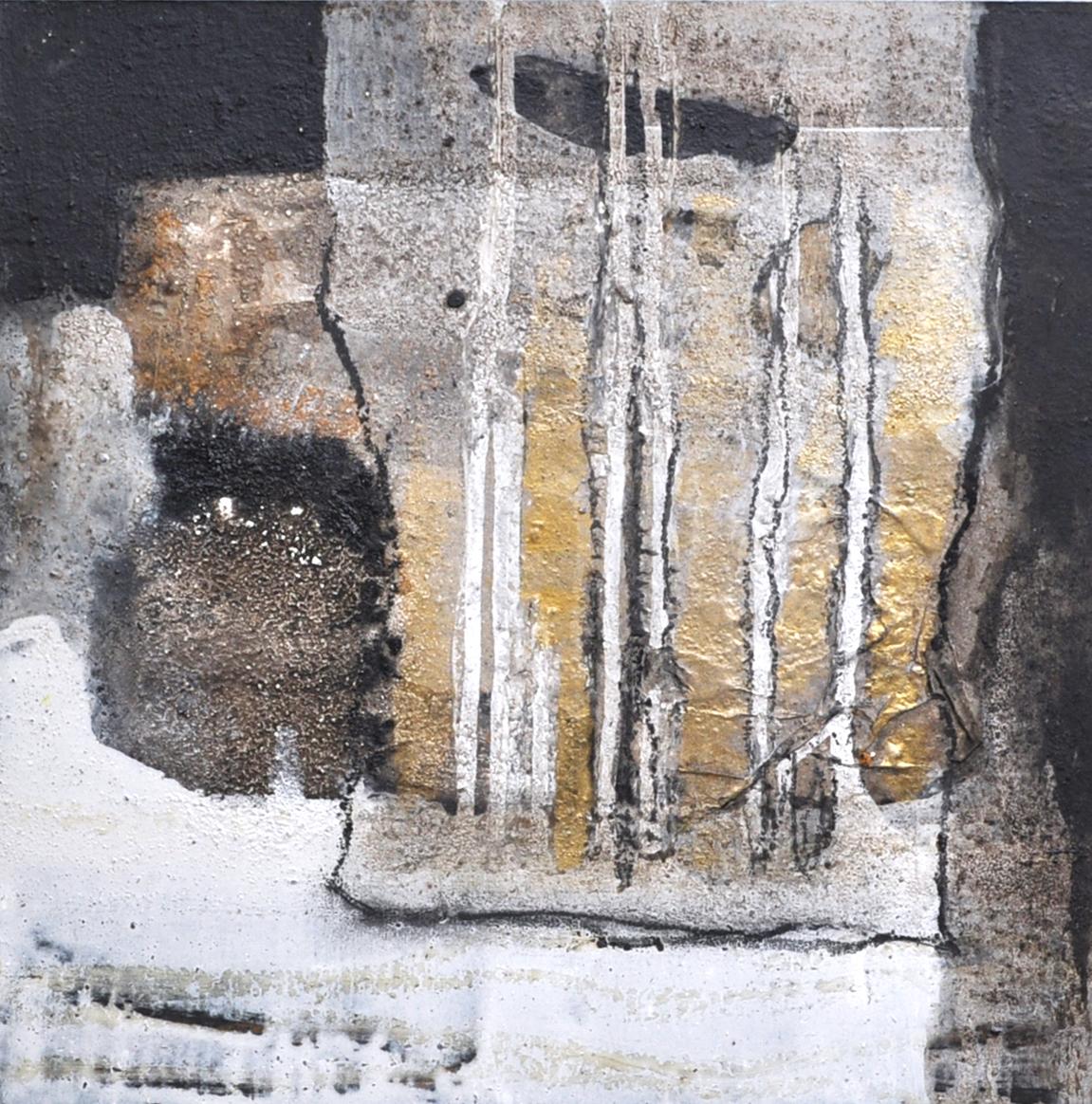 Collage auf MDF Platte in einem weißen Rahmen von 50 x 50