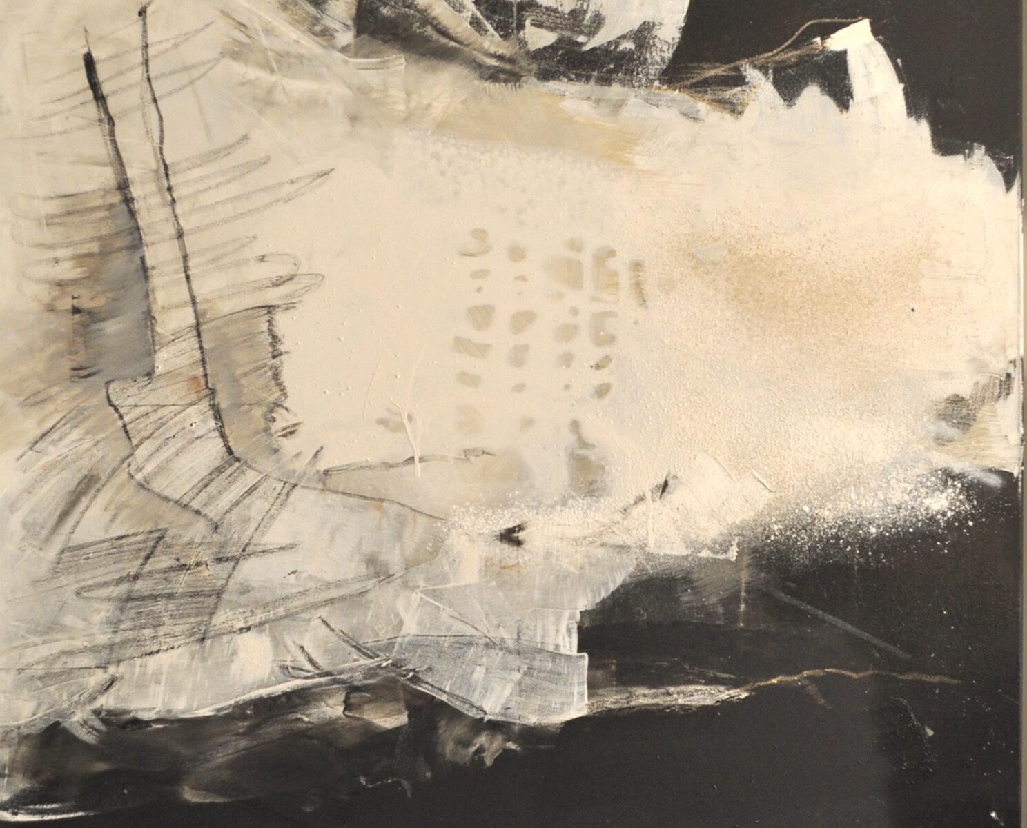 Fließtechnik mit Acryl, Kreide und Marmormehl auf Leinwand 90 x 90